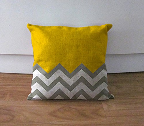 Yellow and grey chevron cushion cover decorative pillow case