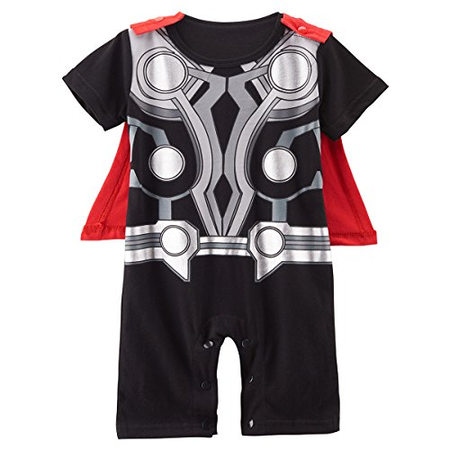 Kiddomania Baby Toddler Boy/ Girl Superhero Bodysuit Romper Onesie Costume (70 (0-6 Months), Thor)