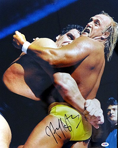 HULK HOGAN AUTOGRAPHED 16X20 PHOTO WWE WITH ANDRE THE GIANT PSA/DNA STOCK - Andre Photos The Giant