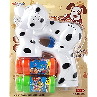 Haktoys Dalmatian Dog Bubble Shooter Gun | Ready to Play Puppy Light Up Blower w/ LED Flashing Lights, Extra Refill Bottle, Music & Barking Sound, Toy for Toddlers, Kids, Parties, Batteries Included: Toys & Games