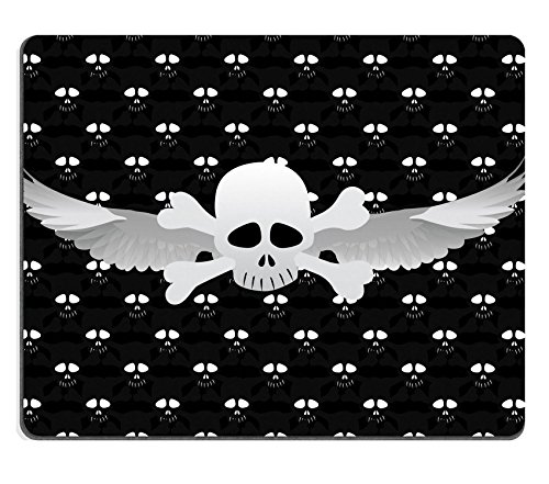 Skull Crossbones Wings - MSD Natural Rubber Mousepad IMAGE ID: 8986384 Skull and crossbones and wings on a black background