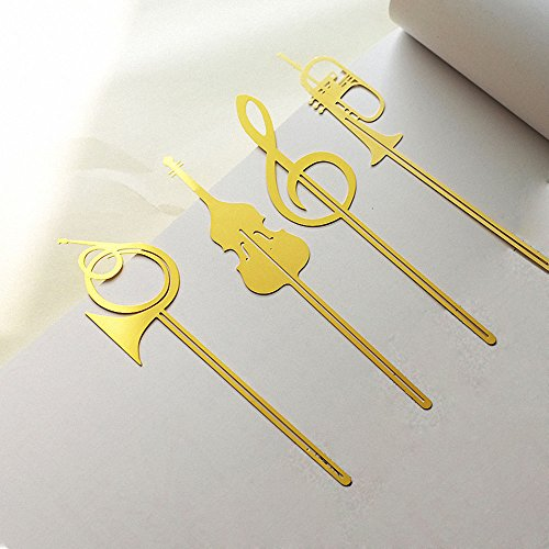 4 Pcs Musical Instrument Metal Book mark - Amupper Cuted 18k Gold Plated Stainless Steel Bookmark Christmas Musical Notes Clip Art