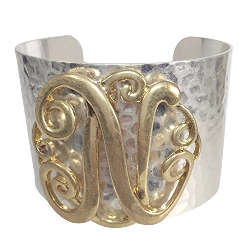 Gypsy Jewels Wide 2 Tone Hammered Boutique Look Monogram Initial Cuff Bracelet (Letter N)