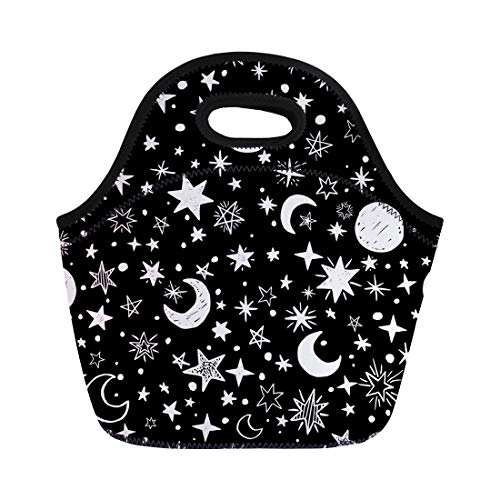 Semtomn Neoprene Lunch Tote Bag Pattern Handdrawn Stars and Moons Doodle Space Drawn Hand Reusable Cooler Bags Insulated Thermal Picnic Handbag for Travel,School,Outdoors, Work