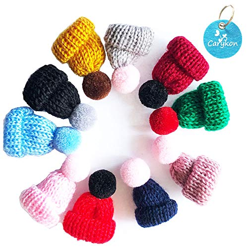 Carykon 10 Pcs Mini Knitting Hats DIY Crafts Wool Yarn Hair Accessories, Assorted Color