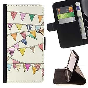 For Sony Xperia Z1 L39 Case , Dibujo Banderas Cumpleaños Feria Carnaval Circo- la tarjeta de Crédito Slots PU Funda de cuero Monedero caso cubierta de piel