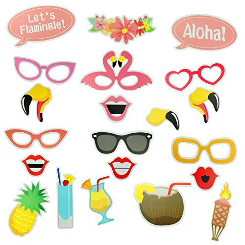 21pcs Hawaii Themed Summer Party Photo Booth Props Kit DIY Luau Party Supplies for Holiday, Wedding, Beach Pool Party (Neon Prom Theme)