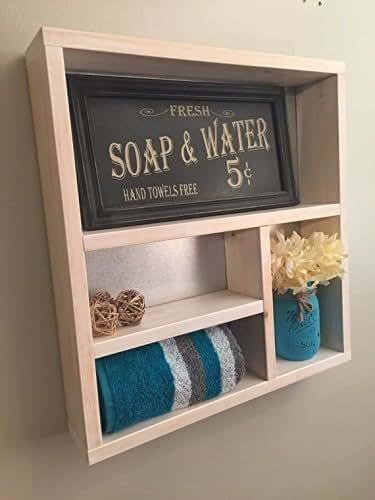 Rustic bathroom shelf wooden shelves rustic for Bathroom decor amazon