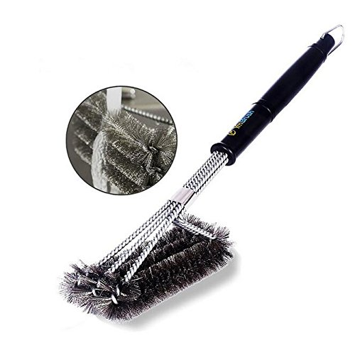 LIVDAT Stainless Steel BBQ Grill Brush Barbecue Cleaning Brush with Wire Bristles and Soft Comfortable Handle, Cleaner & Scraper for Grill Cooking Grates, Racks, & Burners, 18'' Length (Rack Bar 18')