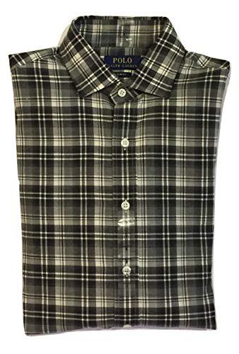 RALPH LAUREN Men's Slim FIT Cotton Twill Button-Down Shirt (Grey White/Plaid, S)