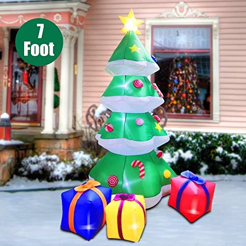 Twinkle Star Christmas Inflatables 7 Feet Xmas Tree with Gift Box Blow Up Indoor Outdoor Home Party Lawn Yard Garden Decorations (Outdoor Decorations Home)