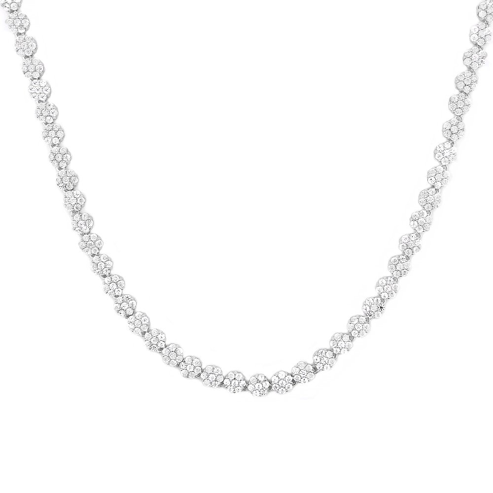 Evan Jewels, EV9-9029 Flower Tennis Necklace in Sterling-Silver (Silver)