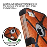 APPLE IPHONE 5 5S ORANGE BLACK BASKETBALL SPORT HYBRID RIB CAGE COVER HARD GEL CASE + FREE SCREEN PROTECTOR from [ACCESSORY ARENA]
