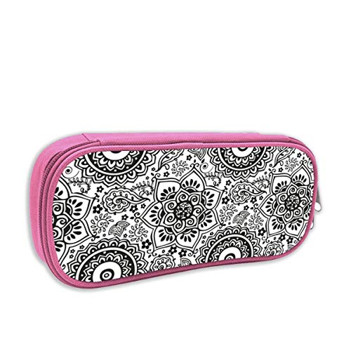 Black and White Seamless Henna Doodle Pattern_1713 Desk Organizer Pencil Box Pencil Pouch Bag Stationery Pen Case with Zipper Closure ()