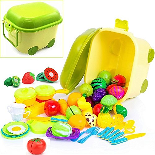 Pretend Play Kitchen Toys and Food Set - in Beautiful Storage Container - Includes Kids Toy Dishes, Cutting Play Foods, Play Fruits & Play Vegetables, Mini Toy Stove Top, Play Kitchen Utensils & more Childrens Toy Stove
