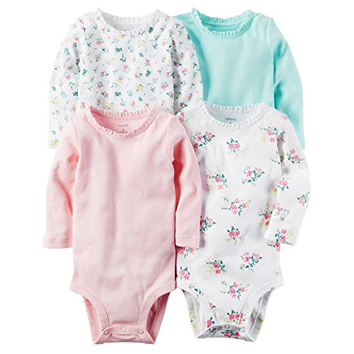 - Carter's Baby Girls' 4-Pack Floral Bodysuits 3 Months