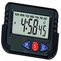 Rokcy Glass Quartz Car Dashboard/Office Desk Alarm Clock And Stopwatch With Flexible Stand (Black)