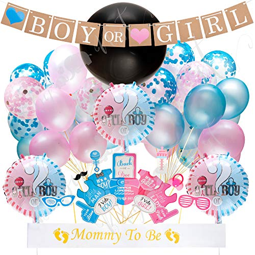 Baby Nest Designs Gender Reveal Party Supplies - With The Original Jumbo Black Gender Reveal Balloon! Plus Boy or Girl Banner Decorations, Foil and Confetti Balloons, Photo Props and Mom to Be Sash! ()