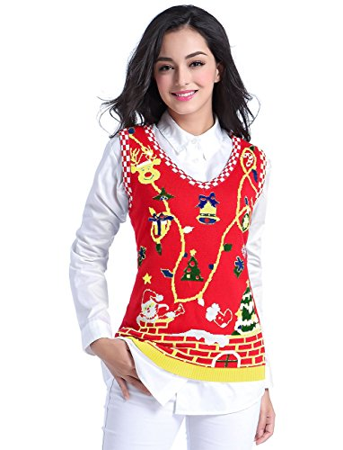 v28 Ugly Christmas Sweater, Women Girl Cute Vintage Knit Xmas Pulli Sweater Vest (S, Red)