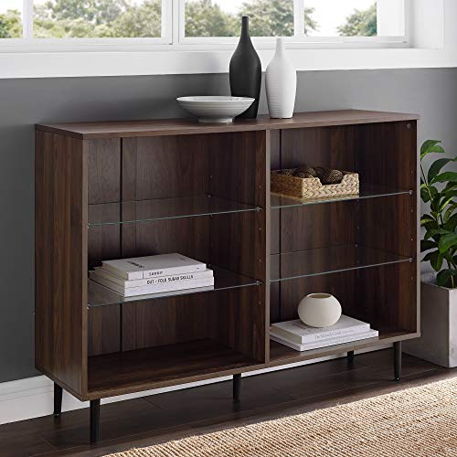 Walker Edison Furniture Company Mid Century Modern Open Shelf Buffet Sideboard Kitchen Dining Storage Cabinet Living Room, 48 Inch, Walnut Brown