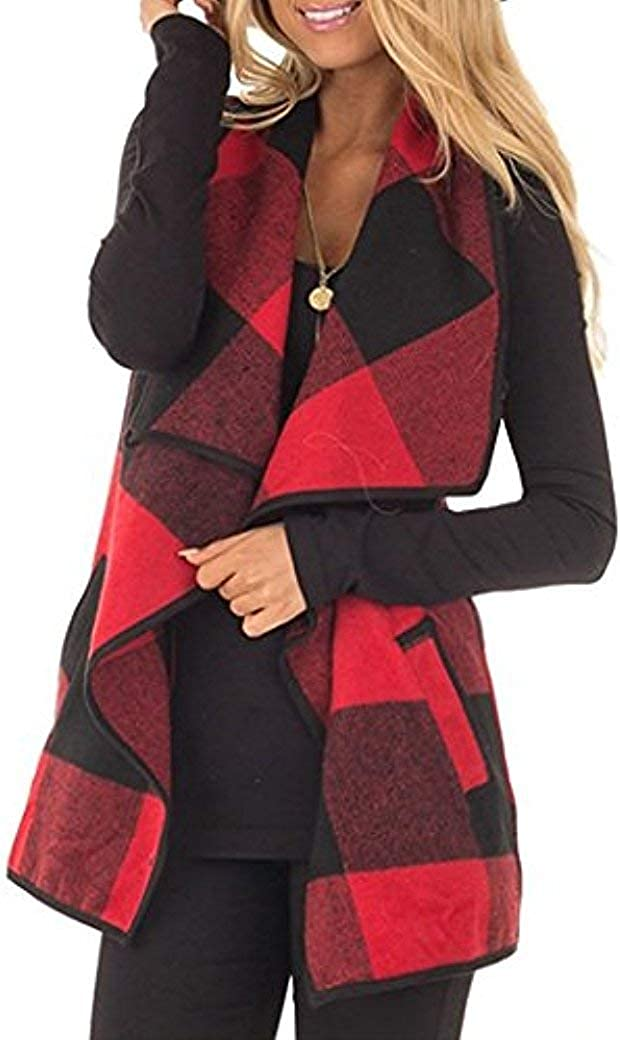 Unidear Womens Casual Lapel Open Front Plaid Vest Cardigan Coat with Pockets