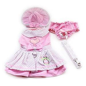 4pcs Dog puppy Luxury Princess Tutu Skirt Dress Set Dog Pet Cat Wedding Party Dress Clothes (Dog Dress+Dog Hat+Dog Panties+Dog Leash ) (XS, Pink Heart)