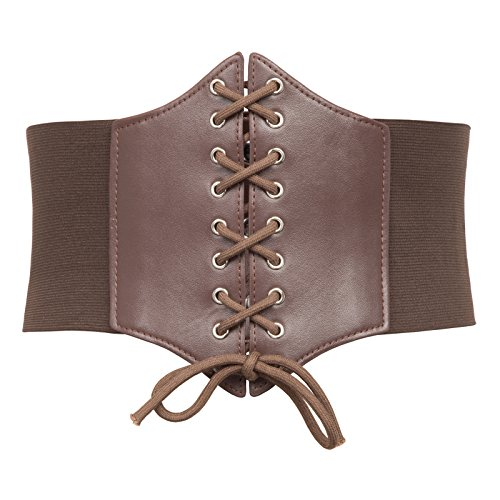Plus Size Steampunk (Lace Up Steampunk Elastic Belt Plus Size (3XL, Brown)