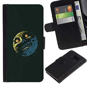 // PHONE CASE GIFT // Moda Estuche Funda de Cuero Billetera Tarjeta de crédito dinero bolsa Cubierta de proteccion Caso Samsung Galaxy S6 / Troll Lol Meme Moon - Funny /