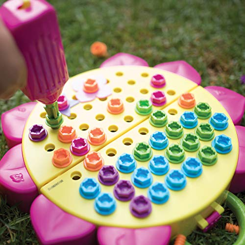 Educational Insights Design & Drill Flower Power Studio: Over 70 Pieces, Preschool Drill Toy, STEM for Girls