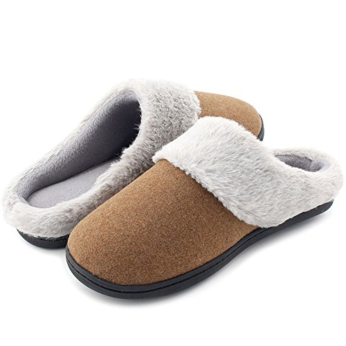 HomeIdeas Women's Woolen Fabric Memory Foam Anti-Slip House Slippers, Breathable Indoor Shoes (Large / 9-10 B(M) US, Brown) by HomeIdeas