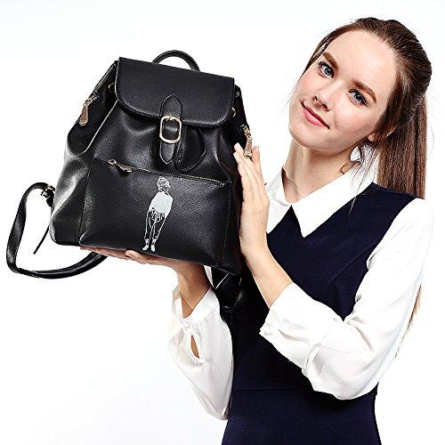 Alta capacidad de dama moda Mochila Ocio Tote hombro Negro