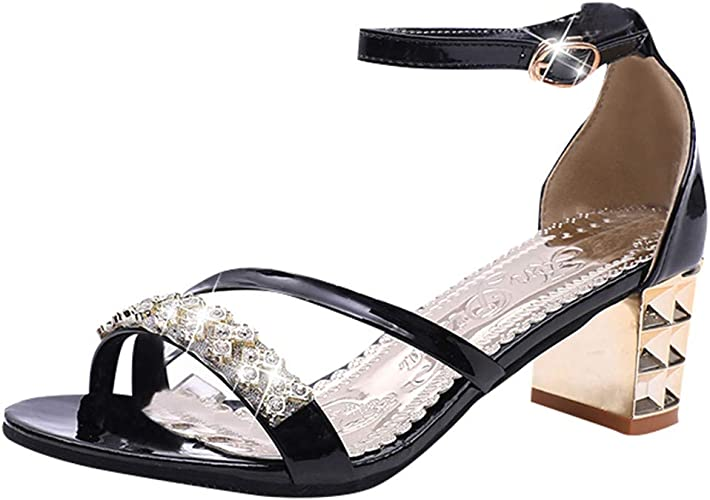 Buckle Roman Sandals Thick Heel Shoes