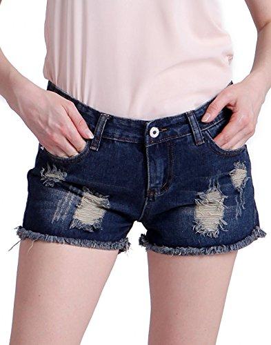 HDE Women's Cut Off Jean Shorts Destructed Denim - Cut Blue Off Short