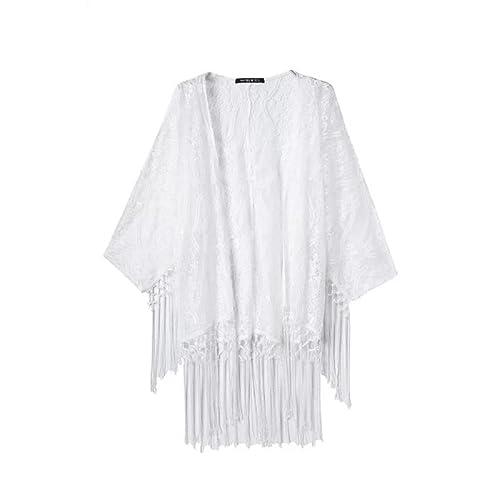 Tongshi Las mujeres consideran a través del kimono de la rebeca del cordón blusa de la camisa de las...