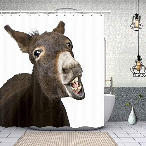 (NYMB Animal Lover Cute Funny Donkey Shower Curtain in Bath 69X70 inches Polyester Fabric Bathroom Fantastic Decorations Hipster Wild Animals Bath Curtains Hooks Included (Multi5))