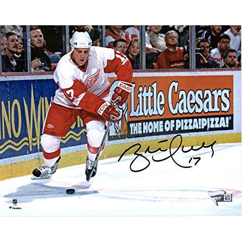 Brett Hull Signed Red Wings - Brett Hull Detroit Red Wings FAN Autographed Signed 8x10 White Jersey Skating Photograph - Certified Signature