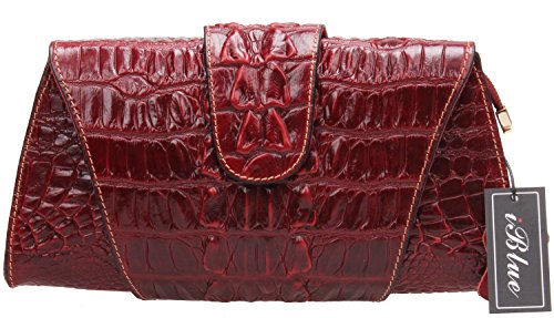 Iblue Women Croco Embossed Leather Clutch Crossbody Bag Party Purse Wallet 12in #W062 (L, red) Croco Embossed Clutch