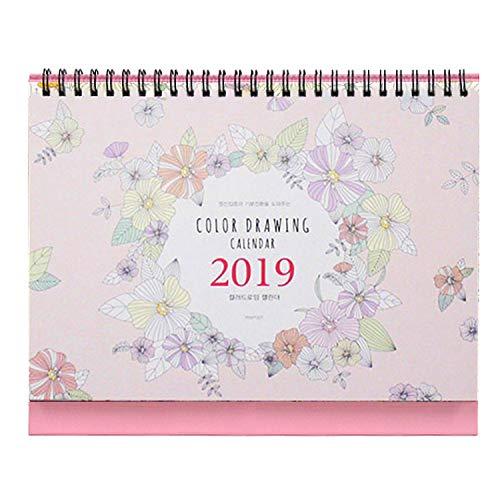 "('Color Drawing' 2019 Calendar Planner Coloring Desk Calendar 12 Months Desk Easel Calendar Wire Bound Coloring Book Planner Organizer Agenda Planner DIY Calendar, 9.4""X7.9"")"