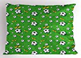 Ambesonne Soccer Pillow Sham, Professional Player Athletics Pattern Football Shoes Balls on Grass, Decorative Standard Queen Size Printed Pillowcase, 30 X 20 inches, Lime Green Yellow Black