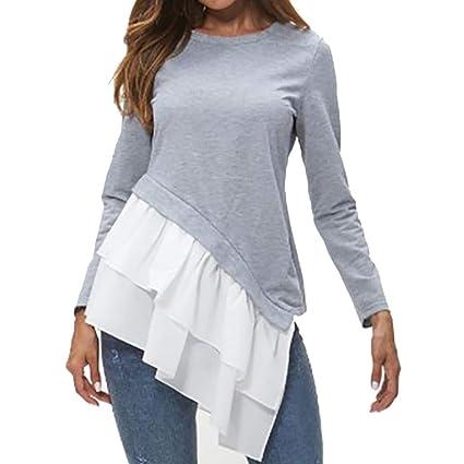 0610d4cb6bc29 AOJIAN Blouse Women Long Sleeve T Shirt Tees Tank Asymmetric Ruffles  Splicing Tunic Shirts Tops  Amazon.in  Toys   Games