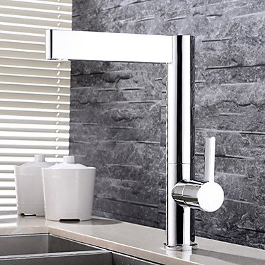 Contemporary Vessel Widespread with Ceramic Valve Single Handle One Hole for Chrome Bathroom Sink Faucet