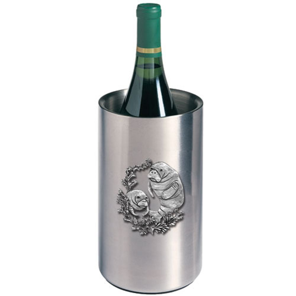 ANIMAL MANATEE WINE CHILLER, This is a wine chiller made of double-wall insulated stainless steel with a fine pewter logo medallion bonded to the front.
