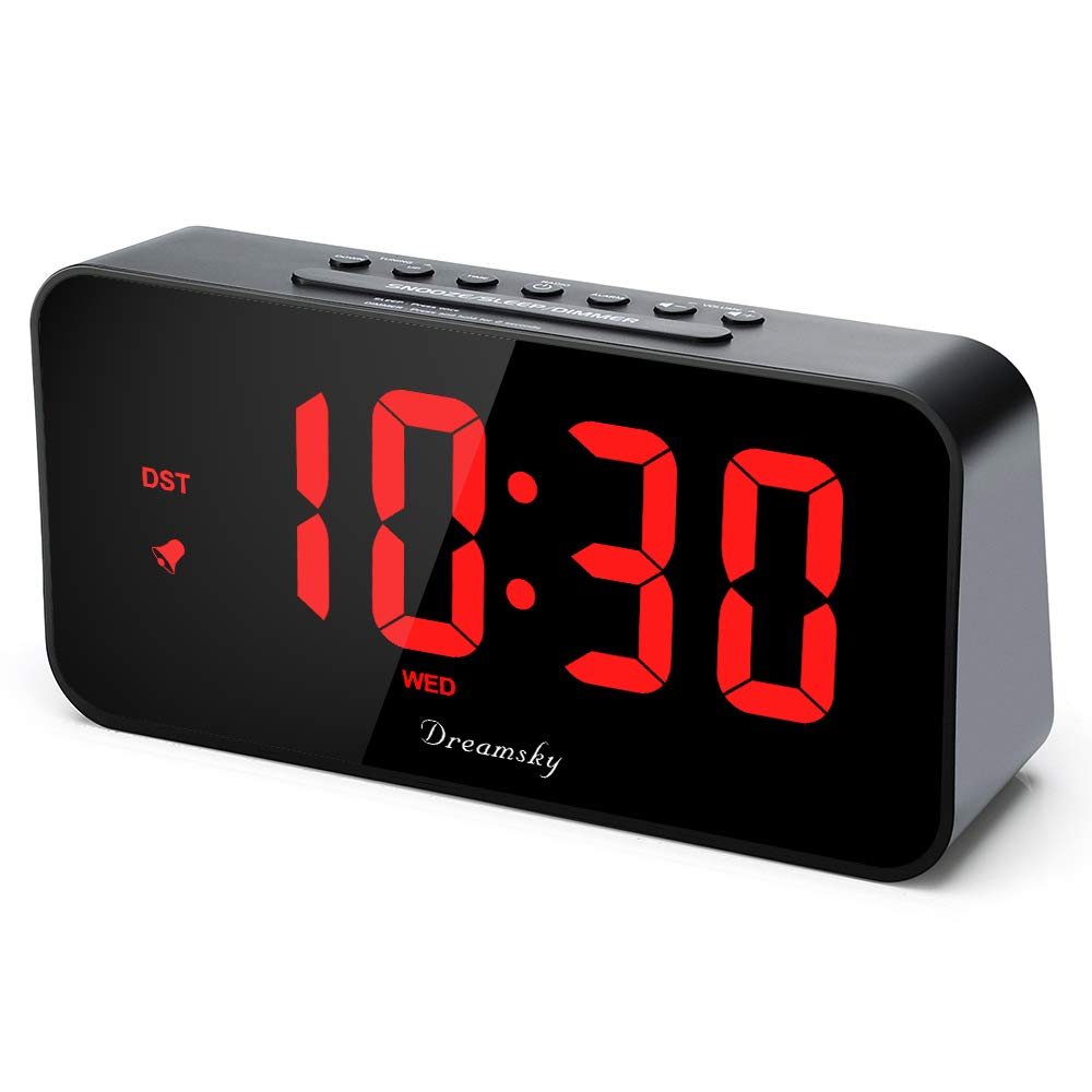 DreamSky 7.3'' Large Alarm Clock Radio with FM Radio and USB Charging Port, 2'' Number Display with Dimmer, Adjustable Alarm Volume, Weekday Display, Snooze, Sleep Timer, DST Setting.