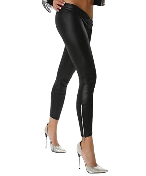 2ad04be705ce Image Unavailable. Image not available for. Color  JJ-GOGO Black Ankle Zip Faux  Leather Leggings