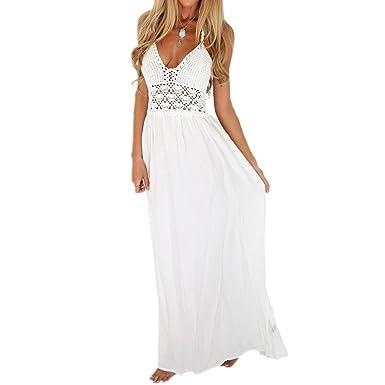 18c8481fa13 LONUPAZZ Maxi Robe De Soiree Longue Femme Chic Crochet Dos Nu Bohème  Cocktail Plage Casual Dress