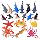 Sea Animals Bath Toys Rubber Ocean Creatures Figures Collection Underwater Marine Fish Sea Life Creatures 18 PCs Easter Basket Stuffers for Toddlers