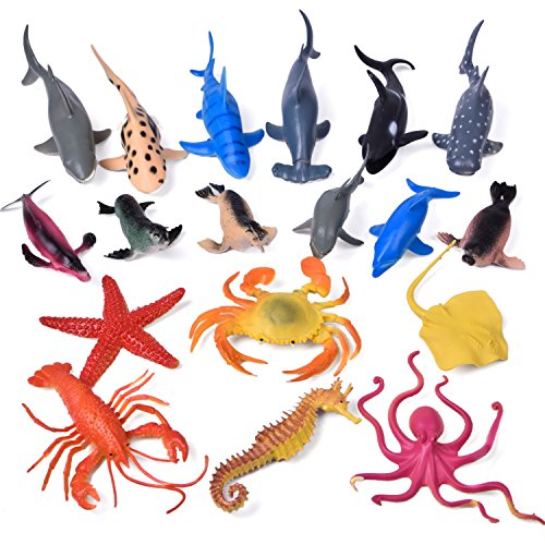 s Rubber Ocean Creatures Collection Underwater Marine Fish Sea Life Creature, Pool Toy, Shark, Blue Whale, Starfish, Crab 18 Pcs - Includes a Storage Bag (Color Back Sea Turtle)