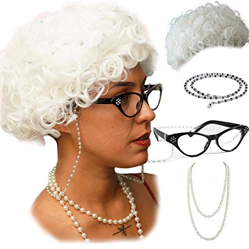 Vibe Old Lady Wig Cosplay Set, White Hair Granny Wig with Pearl Necklace, Glasses, Glass Chain Accessories, 5 Pieces Total ...(White Curly) -
