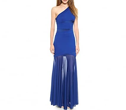 Ovitina 2016 Cheap Long Strapless Fitted Chiffon Splice Sexy Uk Prom Dresses Blue us2