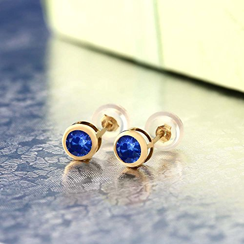Gem Stone King 0.72 Ct Round 4mm Blue Sapphire 14K Yellow Gold Stud Earrings